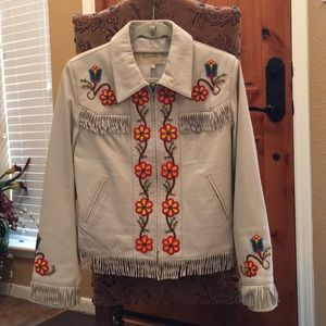 Scully beadwork leather jacket M